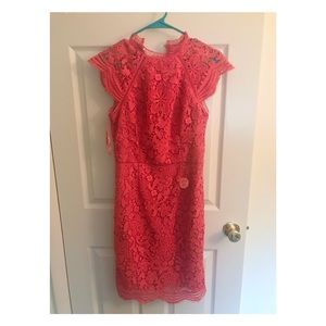 Coral lace dress, NWT